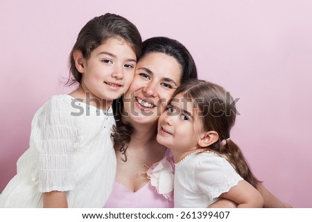 Mother and girls - stock photo