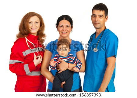 Mother and her baby son between doctor and paramedic isolated on white background - stock photo