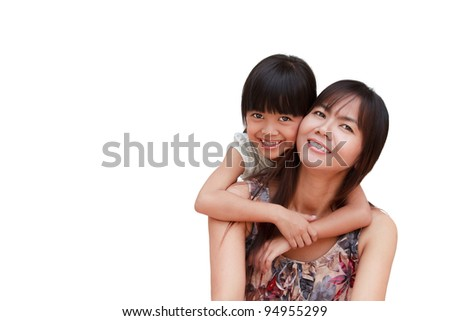 Mother and her little daughter embracing, Isolated on white - stock photo
