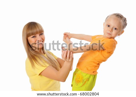Mother and her little daughter spend time together. - stock photo