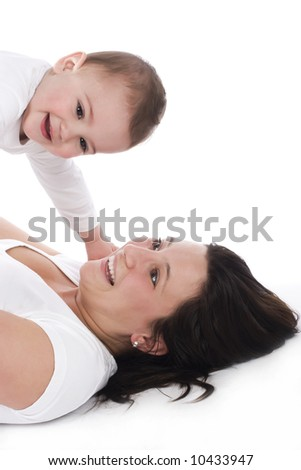 mother and her little son spending time together - stock photo