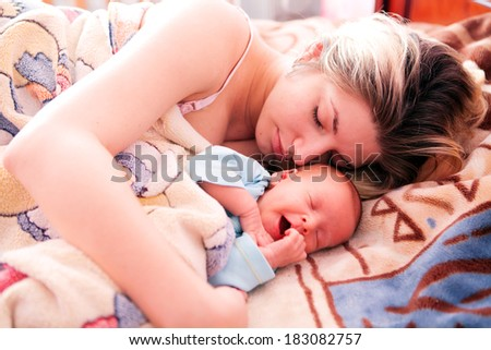 Mother and her Newborn Baby.Maternity concept.  - stock photo