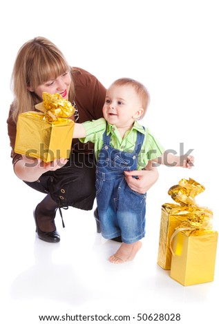 Mother and little boy with gifts. Isolated on white background - stock photo