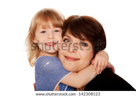 Mother and little daughter hugging.  Isolated on white background - stock photo