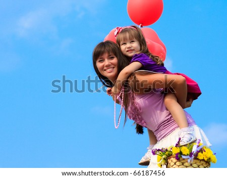Mother and little girl - stock photo