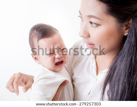 mother and son ,asian family - stock photo