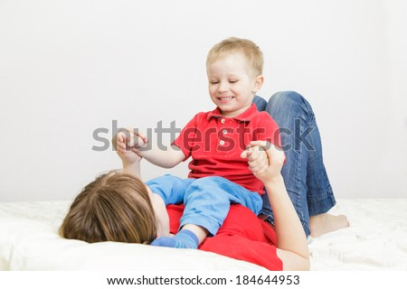 mother and son enjoying time together, quality time - stock photo
