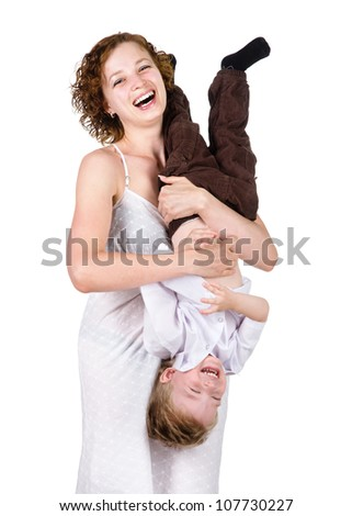 Mother and Son Having Fun. isolated on white background - stock photo