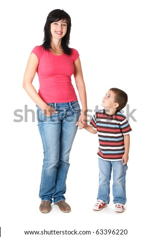 Mother and son holding hands isolated on white - stock photo