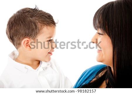 Mother and son smiling - isolated over a white background - stock photo