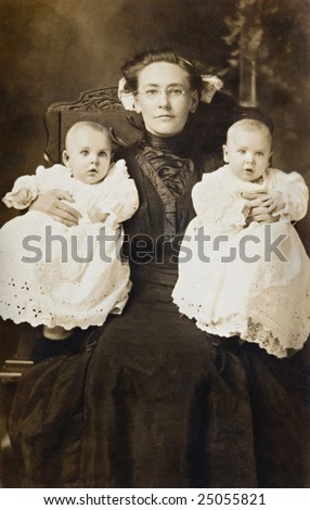 Mother and Twins Vintage Photograph - stock photo