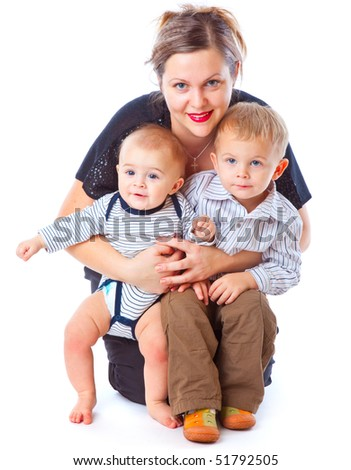 Mother and two boys. Isolated on white background - stock photo