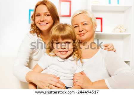 Mother dauhter and grandmother portrait - stock photo