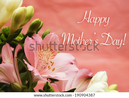 Mother day card with flowers and greeting on pink background - stock photo