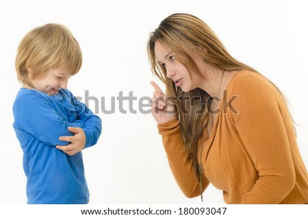 Mother disciplining her child - stock photo