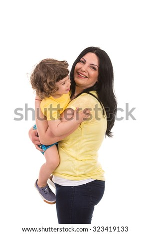 Mother embracing toddler son and having fun isolated on white background - stock photo