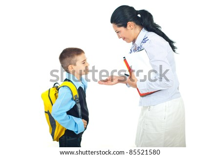 Mother explain and gesticulate to her son before going to school isolated on white background - stock photo