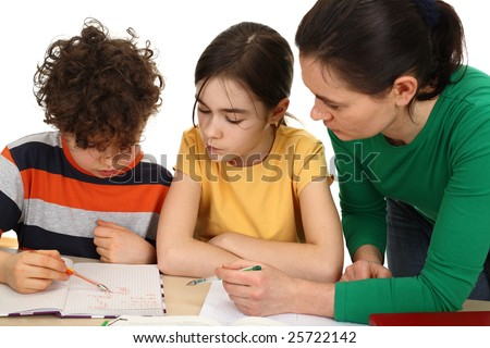 Mother helping her kids do homework isolated on white background - stock photo