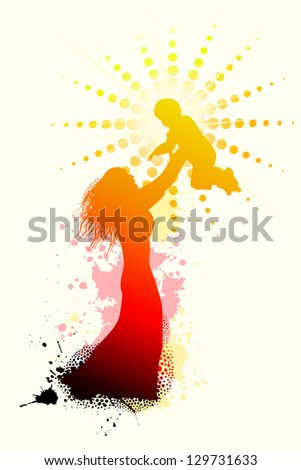 mother holding a baby. Raster - stock photo