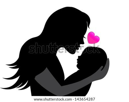 mother holding a young child. Near the heart symbolizing the mother's love - stock photo
