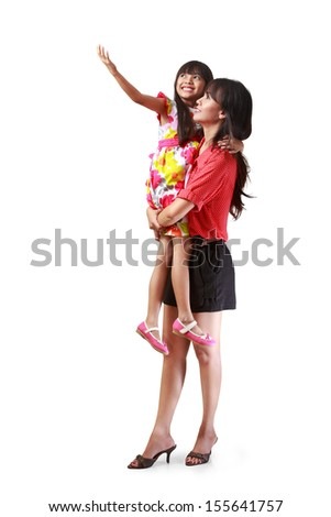 Mother holding her little daughter, Isolated on white with clipping path - stock photo