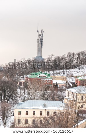 Mother Land monument in Kiev, Ukraine in the evening - stock photo