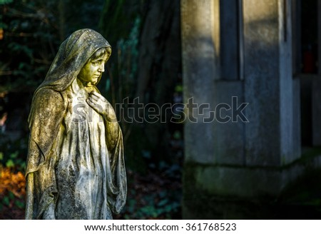 Mother Mary in Graveyard Cemetery in Nature - stock photo