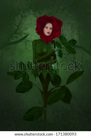 Mother Nature Cries - A wonderful Rose cries in the forest. - stock photo