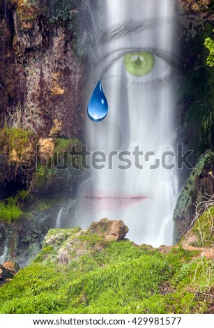 Mother nature crying concept - stock photo