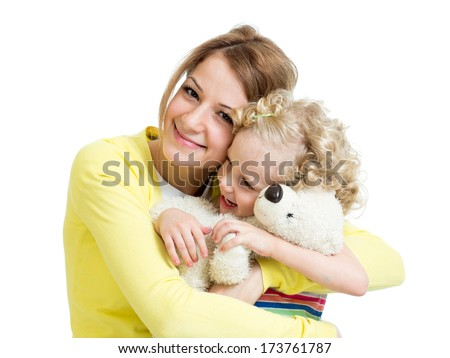 mother playing with her kid girl and plush toy - stock photo