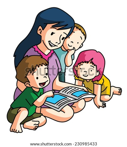 Mother Reading Book Together - stock photo