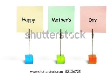 Mother's Day greetings on White Background - stock photo