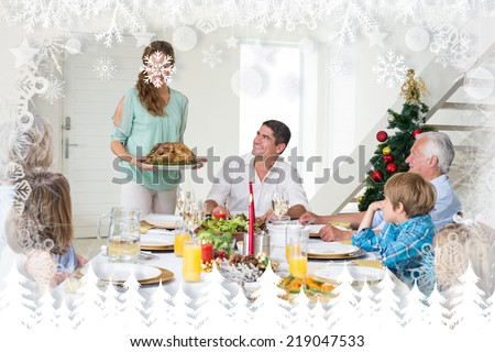 Mother serving Christmas meal to family against fir tree forest and snowflakes - stock photo