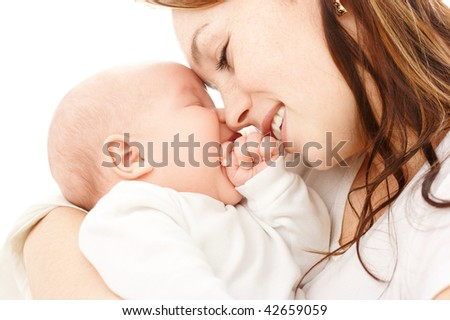Mother smile to her child, isolated over white - stock photo