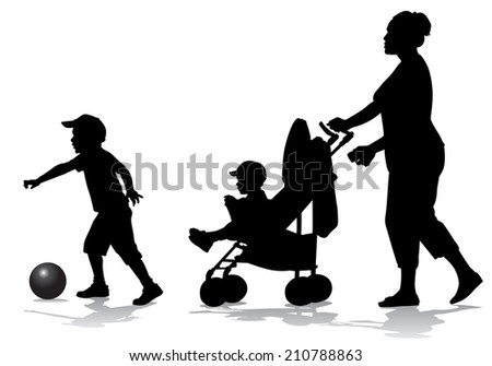 Mother walks with the kids and a stroller for a walk  - stock photo