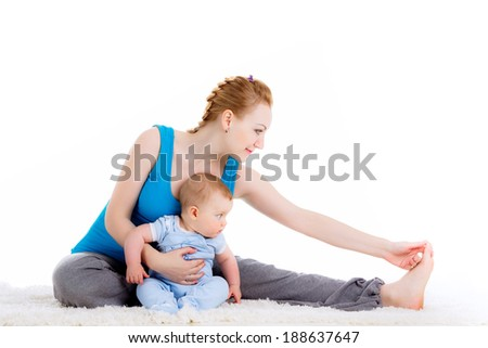mother with a child engaged in yoga.  isolated on white background - stock photo