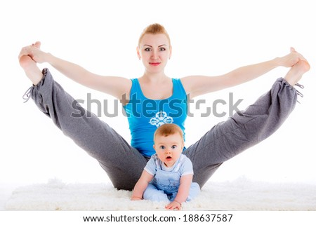 mother with a child engaged in yoga.   physical exercises after childbirth. isolated on white background - stock photo
