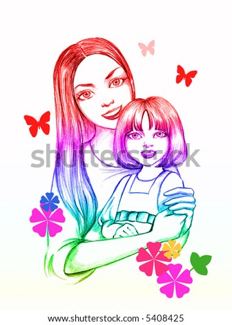 mother with a little daughter,  love of children - stock photo