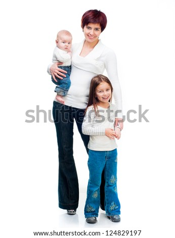 Mother with babies isolated on a white background - stock photo