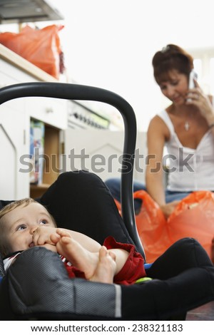 Mother with Baby Boy at Home - stock photo