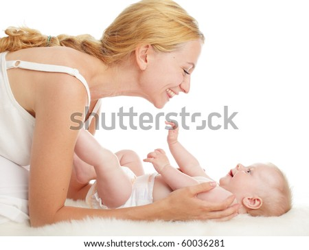 Mother with baby isolated on white - stock photo