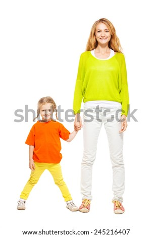 Mother with child isolated on white. Happy family - stock photo
