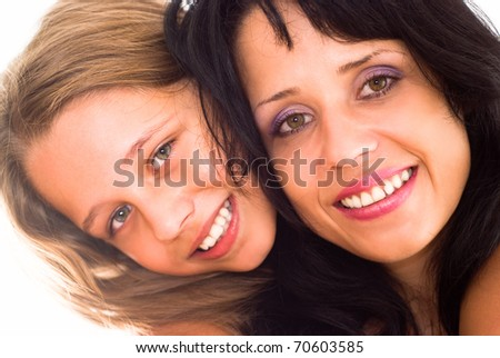 mother with daughter on a white - stock photo