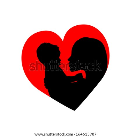 mother with her baby in the heart . Raster - stock photo