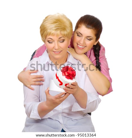 Mother with her daughter isolated - stock photo