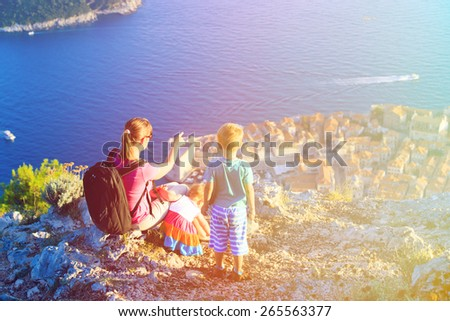 mother with kids travel looking at scenic view in Dubrovnik, Croatia - stock photo