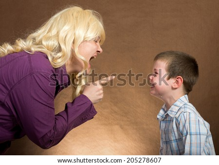 mother yelling at children/mother yelling at children - stock photo