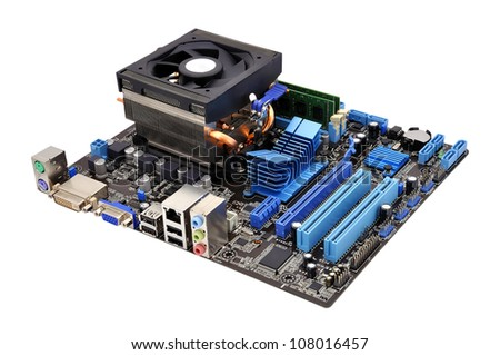 motherboard and cpu on a white background - stock photo