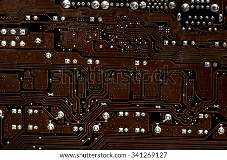 motherboard back side close up - stock photo