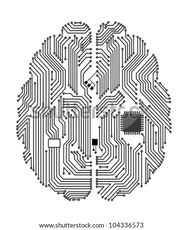 Motherboard brain on white background for technology concept design. Vector version also available in gallery - stock photo